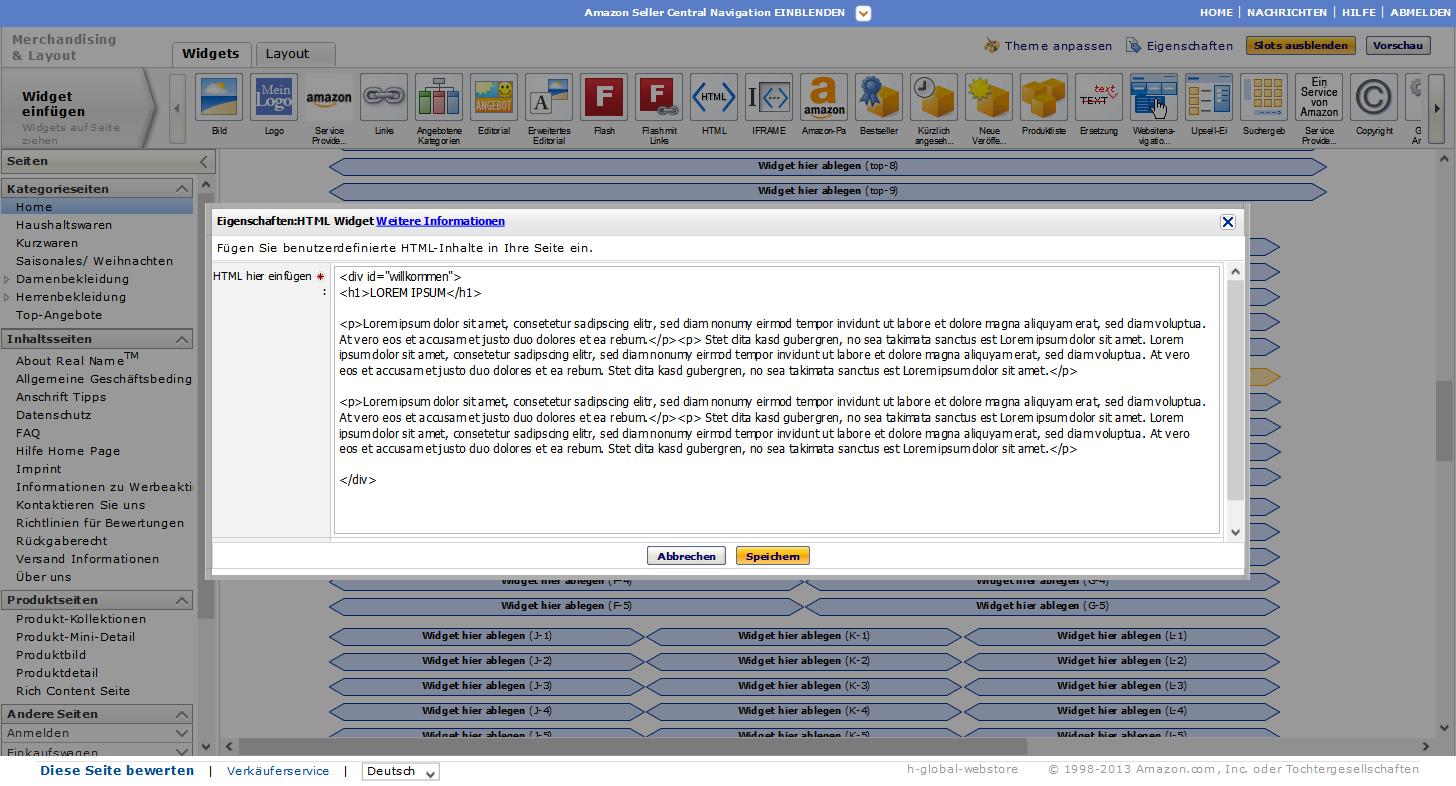 Amazon Webstore HTML-Widget